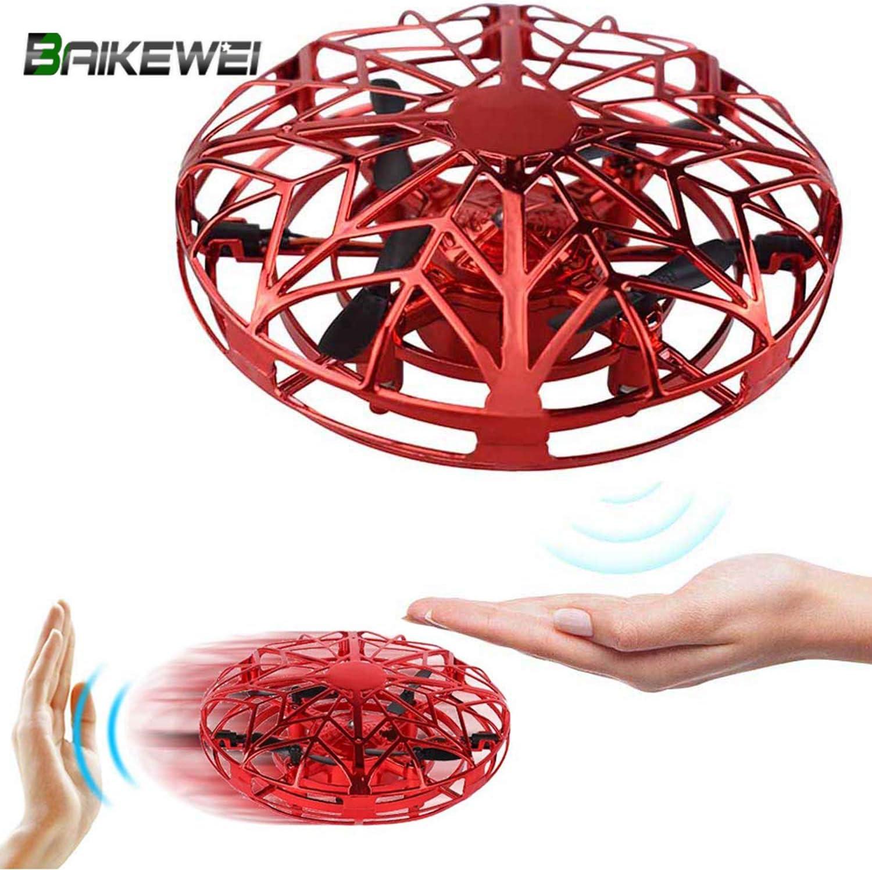 Baikewei Mini Drone, RC UFO Helicóptero, Juguete Volador Interactivo de inducción infrarrojo Recargable, 360° Gira detección automática de obstáculos, Regalo para niños y Adultos. (Red)