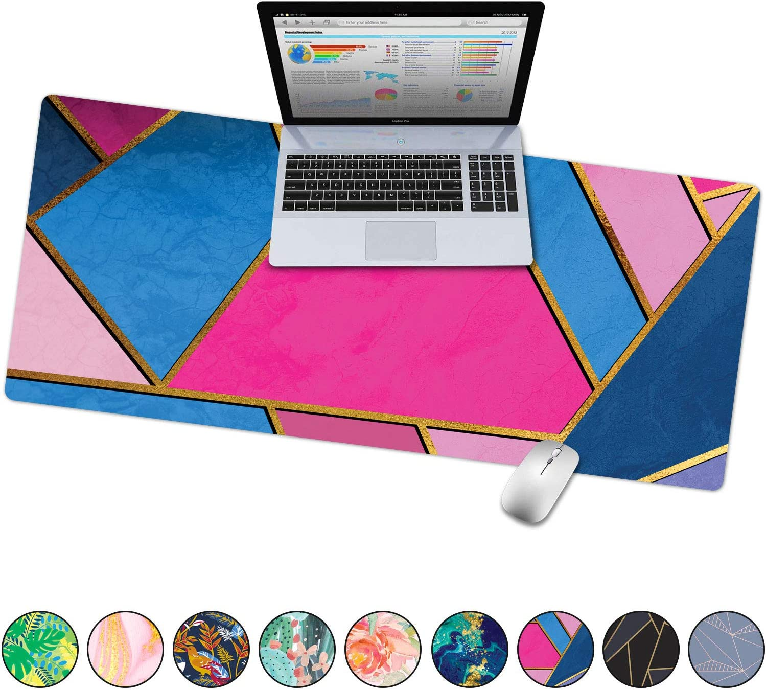 """French Koko Large Mouse Pad, Desk Mat, Keyboard Pad, Desktop Home Office School Cute Decor Big Extended Laptop Protector Computer Accessories Pretty Mousepad XL 31""""x15""""(Geometric Pink and Blue)"""
