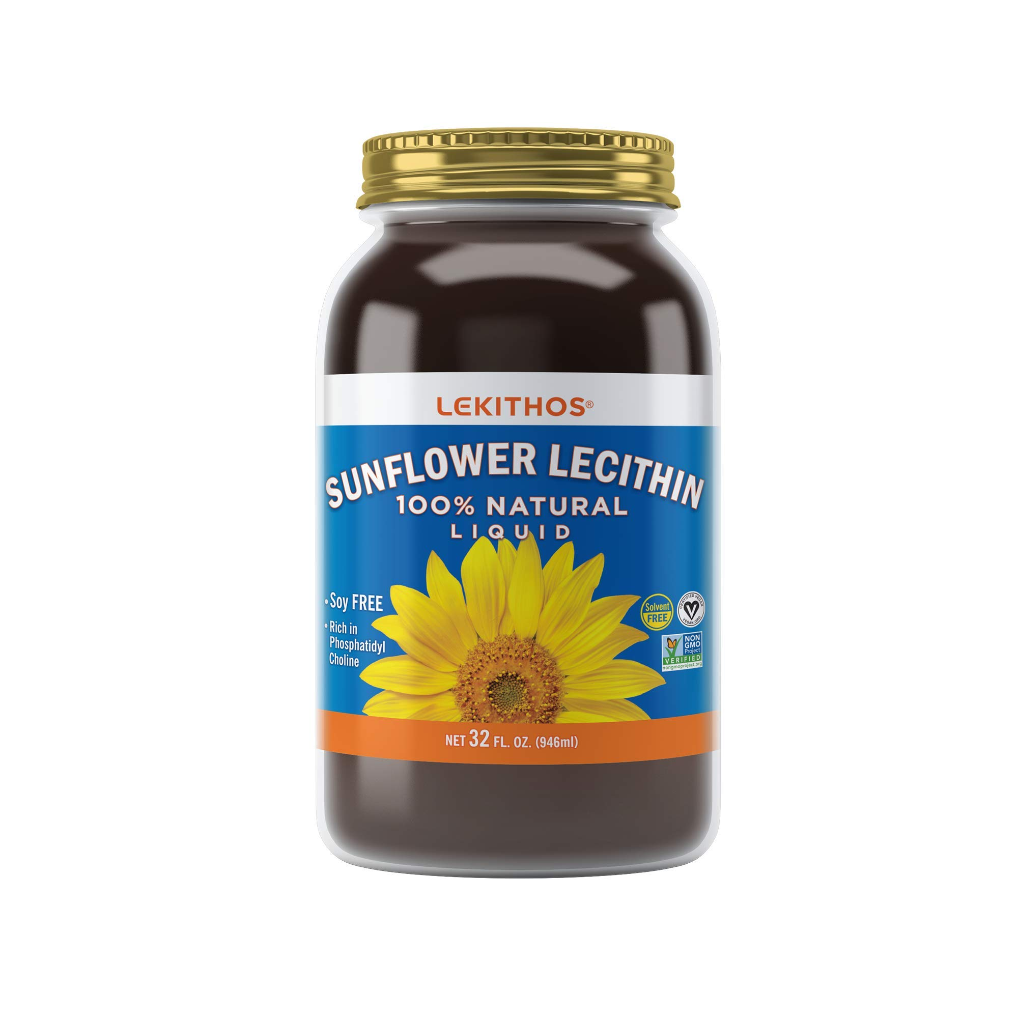 Lekithos® 100% All Natural Liquid Sunflower Lecithin - 32 fl. oz. - Cold Pressed (Solvent Free) - Rich in Phosphatidyl Choline - Non-GMO Project Verified by Lekithos