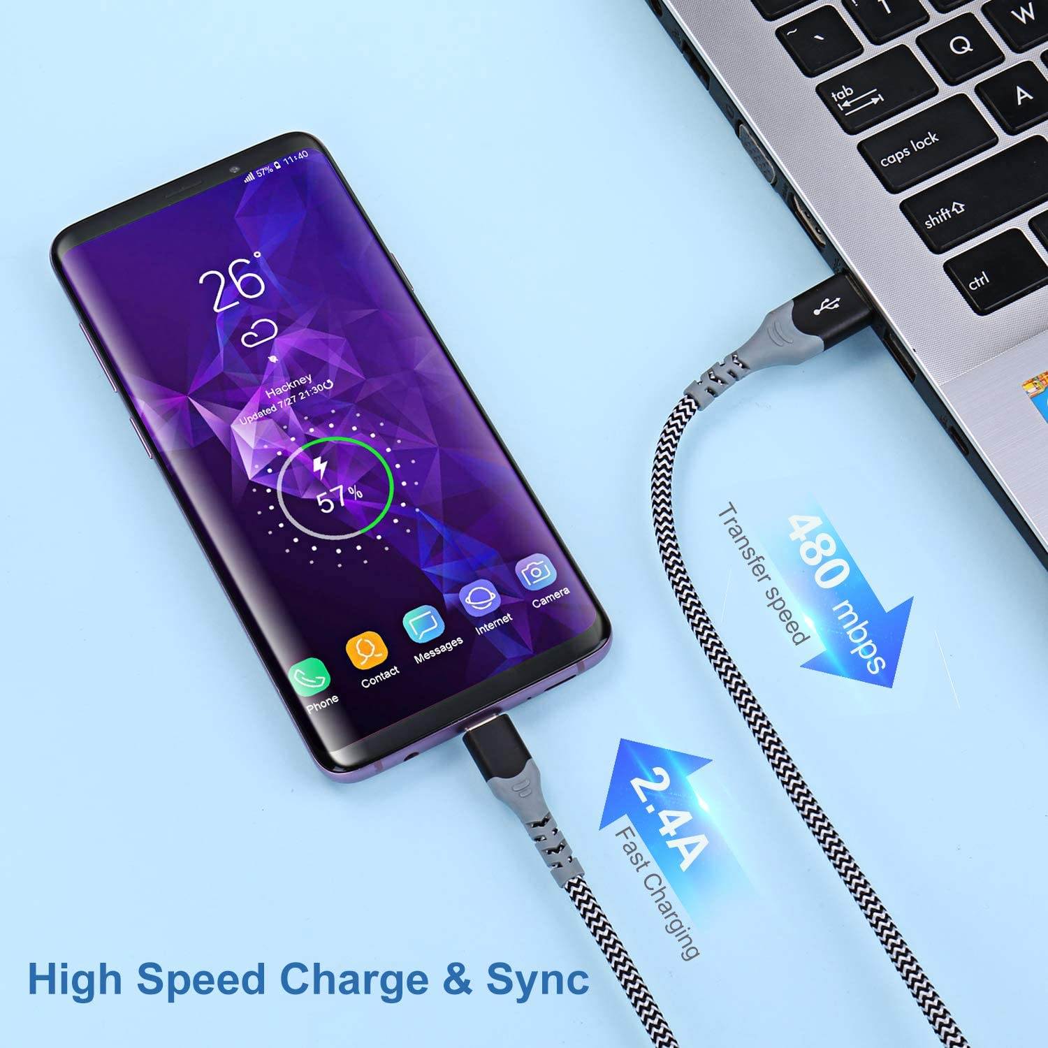 Excgood Fast Charger Power Adapter USB Type C Cable Fast Charging Compatible with Samsung Galaxy S8//9+//10e,Note 8//9,LG G5//6 V20//30-Black Adaptive Fast Charging Wall Charger with USB C Cable 10Ft