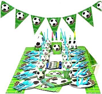 Sylon 99 Piezas Vajilla de fútbol cumpleaños Adulto, Vajilla ...
