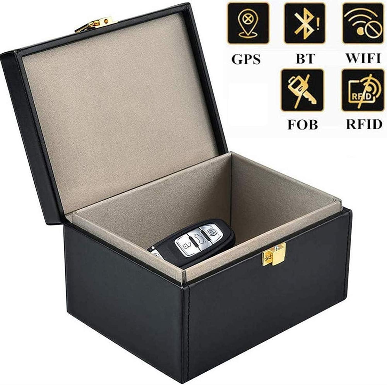 Getfitsoo Signal Blocker Box Signal Blocking Key Fob for Blocking Faraday Car Key Signal,Large PU Leather Faraday Car Key Fob Protector Box Black, 6X4X3
