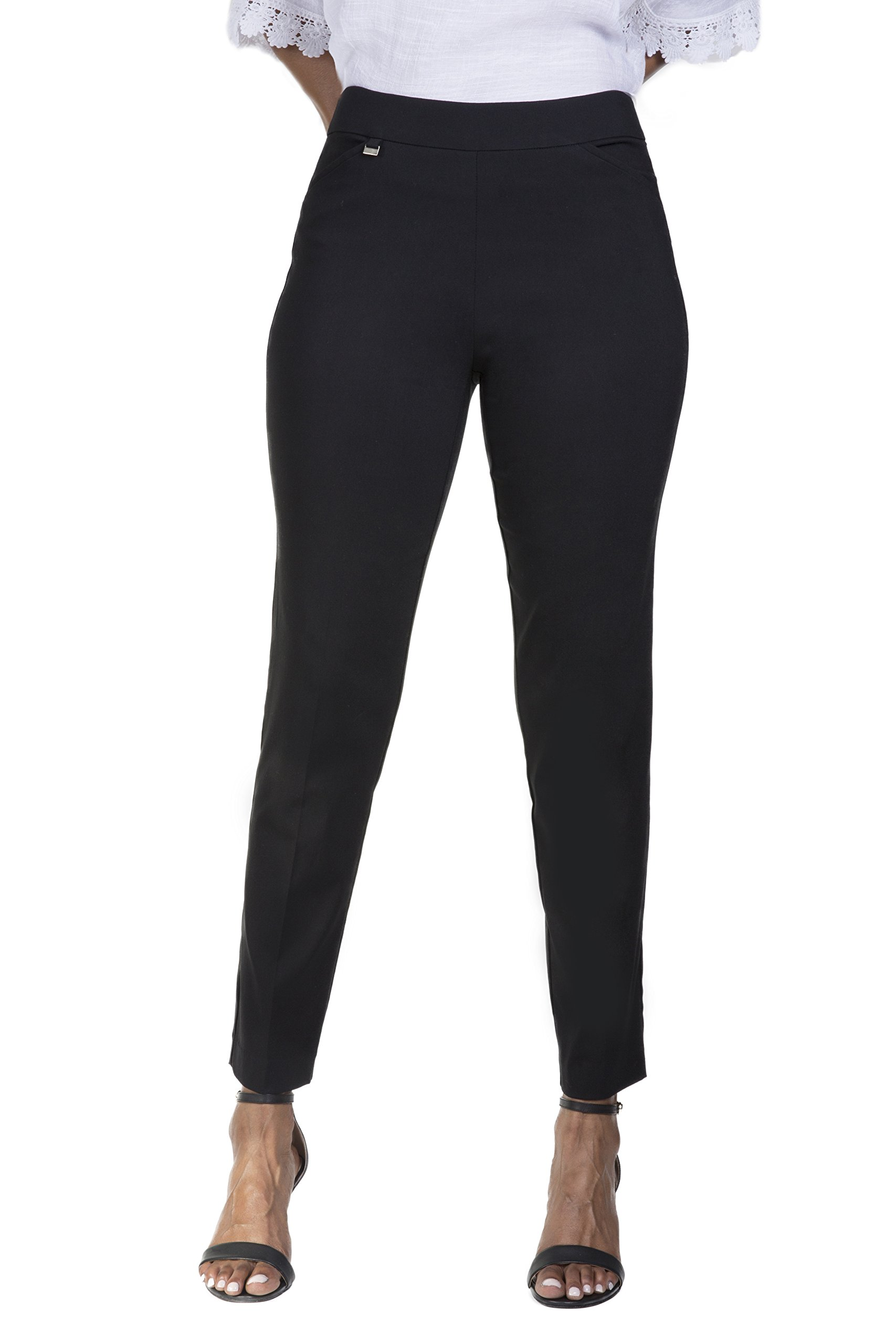 Fundamental Things Women's Easy Pull-On Slim Leg Pants with Tummy Control, Black, Size 10