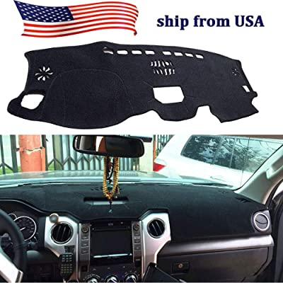 BBQ@FUKA Psycofoocar for Toyota Tundra 2014 2015 2016 2020 Black Carpet Dashboard Cover Dashboard Cover Dash Mat Sun Shade Carpet Pad: Automotive