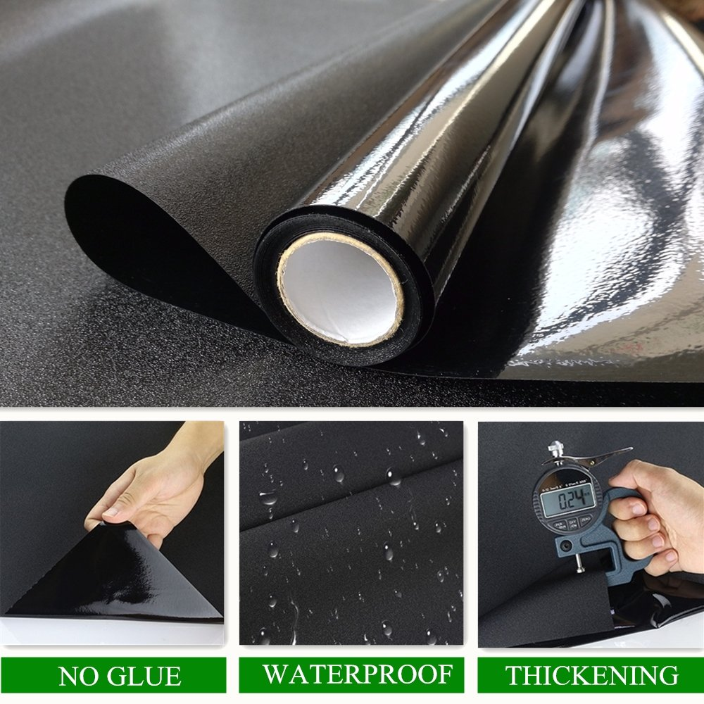 Velimax Static Cling Blackout Window Film Privacy Window Tint Black Stickers 100% Light Blocking Room Darkening No Glue 35.4'' x 78.7''(90CM by 200CM) by Velimax (Image #3)