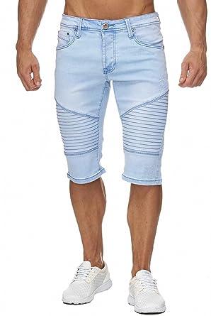 06a43979cc7a Herren Jeans Shorts Bermuda Biker Nähte 4 4 Hose H1951  Amazon.de   Bekleidung