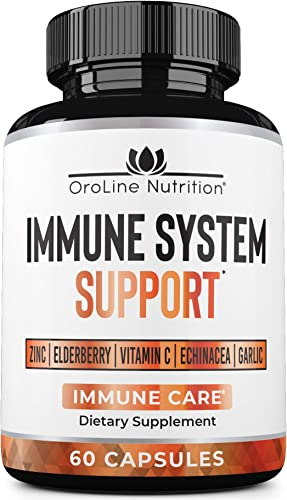 Oroline Immune Support Vitamins – Garlic, Vitamin C, Zinc, Elderberry, Echinacea Immune System Booster Capsules Immunity Booster Supplement for Powerful Immunity Support
