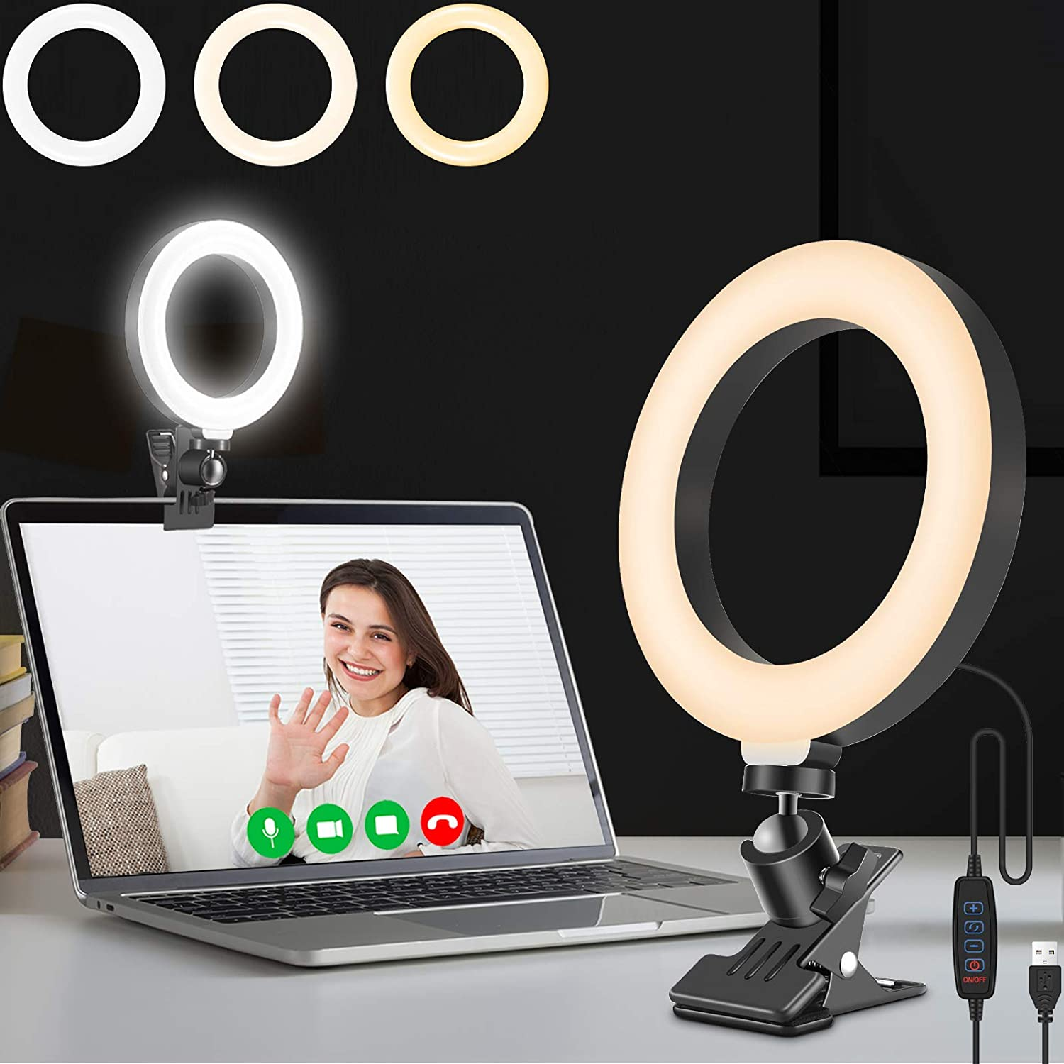 Ring Light Clip On for Laptop Monitor Computer, Video Conferencing Light with Clamp Mount for Zoom Call/Zoom Lighting/Remote Working/Self Broadcasting/Live Streaming/Make-up