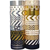 Wonderful Washi Japanese Decorative Paper Foil Craft Tape Elegant Collection Gold & Silver (Set of 20 rolls) Extra Long (32 feet!)