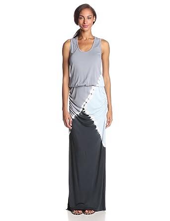 Young Fabulous & Broke Women's Mel Shirred Maxi Dress, Sky Tri Block, Large