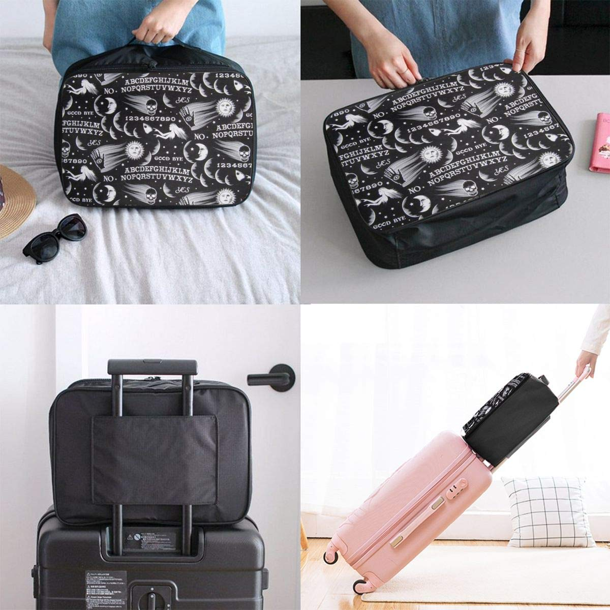 Gothic Witch Board Seamless Travel Lightweight Waterproof Folding Storage Carry Luggage Duffle Tote Bag Large Capacity In Trolley Handle Bags 6x11x15 Inch