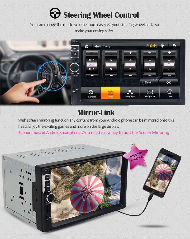 EinCar 7 Touch Screen Car Stereo In Dash GPS Navigation MP5/MP3 Player AM FM Radio Multimedia Receiver 2 Din 1080p Video Player Support USB/SD/Remote ...