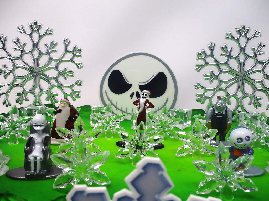 Nightmare Before Christmas Winter Wonderland Themed Birthday Cake Topper Set with Jack Skellington and Decorative Themed Accessories by Cake Topper (Image #3)