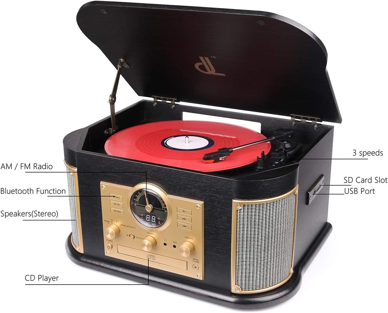 Amazon.com: D&L - Fonógrafo de madera con Bluetooth y ...
