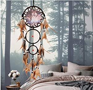 Seek4comfortable Dream Catchers, Handmade Traditional Dreamcatcher Tricyclic Wolf Head Painting with Brown Feathers Wall Hanging Home Decoration Decor Ornament Craft