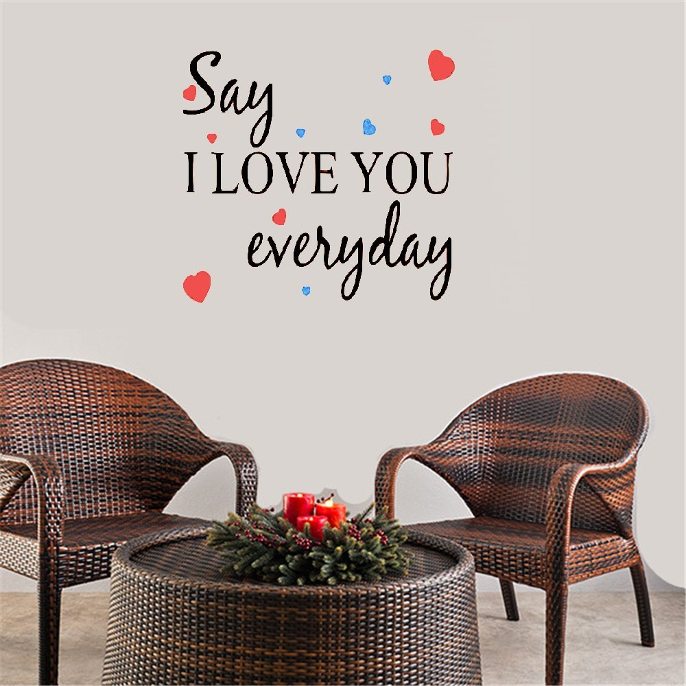 ytrfg Creative Quote Wall Stickers Decal Decorative Removable Vinyl Stickers Say I Love You Everyday Home Quotes by ytrfg
