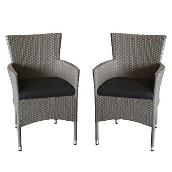Amazon.de: 2x Polyrattan Sessel stapelbar Rattansessel grau-meliert ...