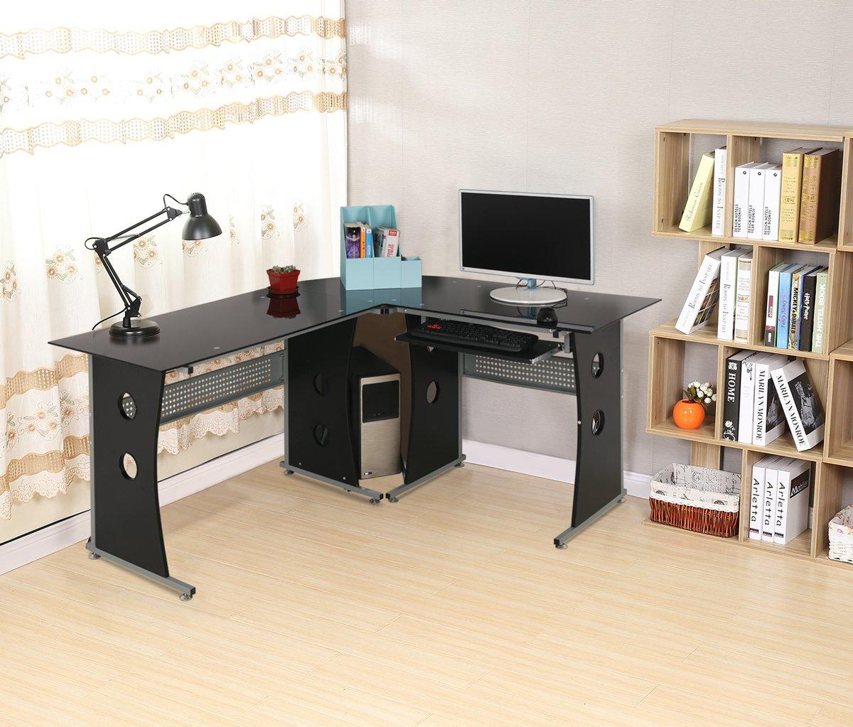 HLC Tempered Glass L Shaped Corner Computer Desk Home/Office Workstation  With Interchangeable Desktops And Pull Out Keyboard Shelf 160cm * 135cm *  75CM: ...