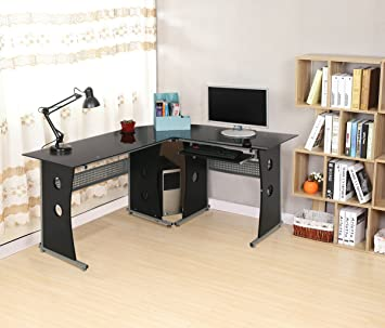 hlc l shaped corner homeoffice workstation computer desk with interchangeable desktops tempered amazoncom coaster shape home office computer