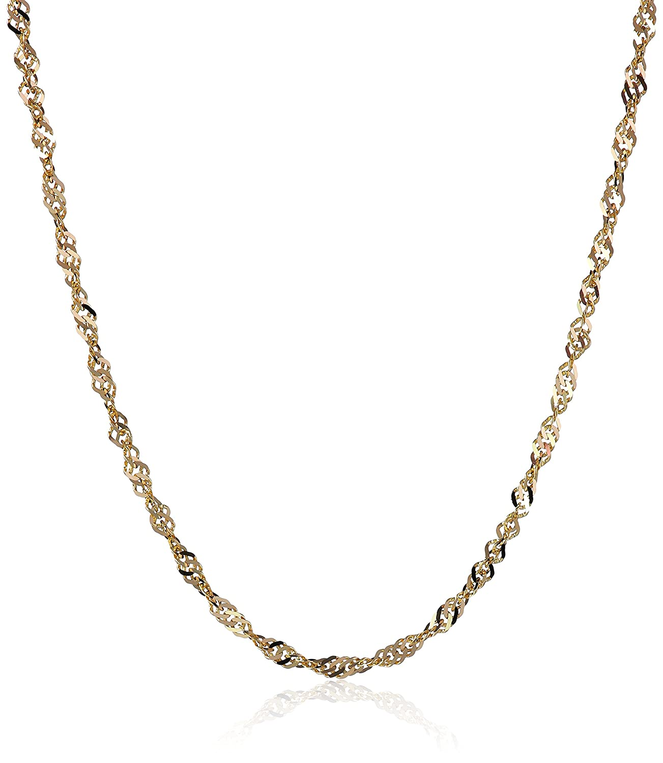 14k Gold Singapore Chain Necklace (1.35mm), 18 18 Amazon Collection 075.025W.18
