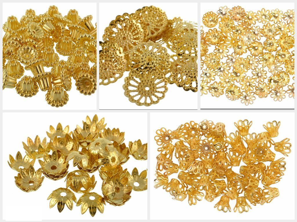GOELX Golden Fancy Flower Bead Caps Combo For Silk Thread Jewellery Making A R Threads 456328