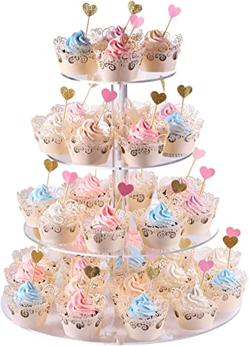 4-Tier Round Acrylic Cupcake Display Stand