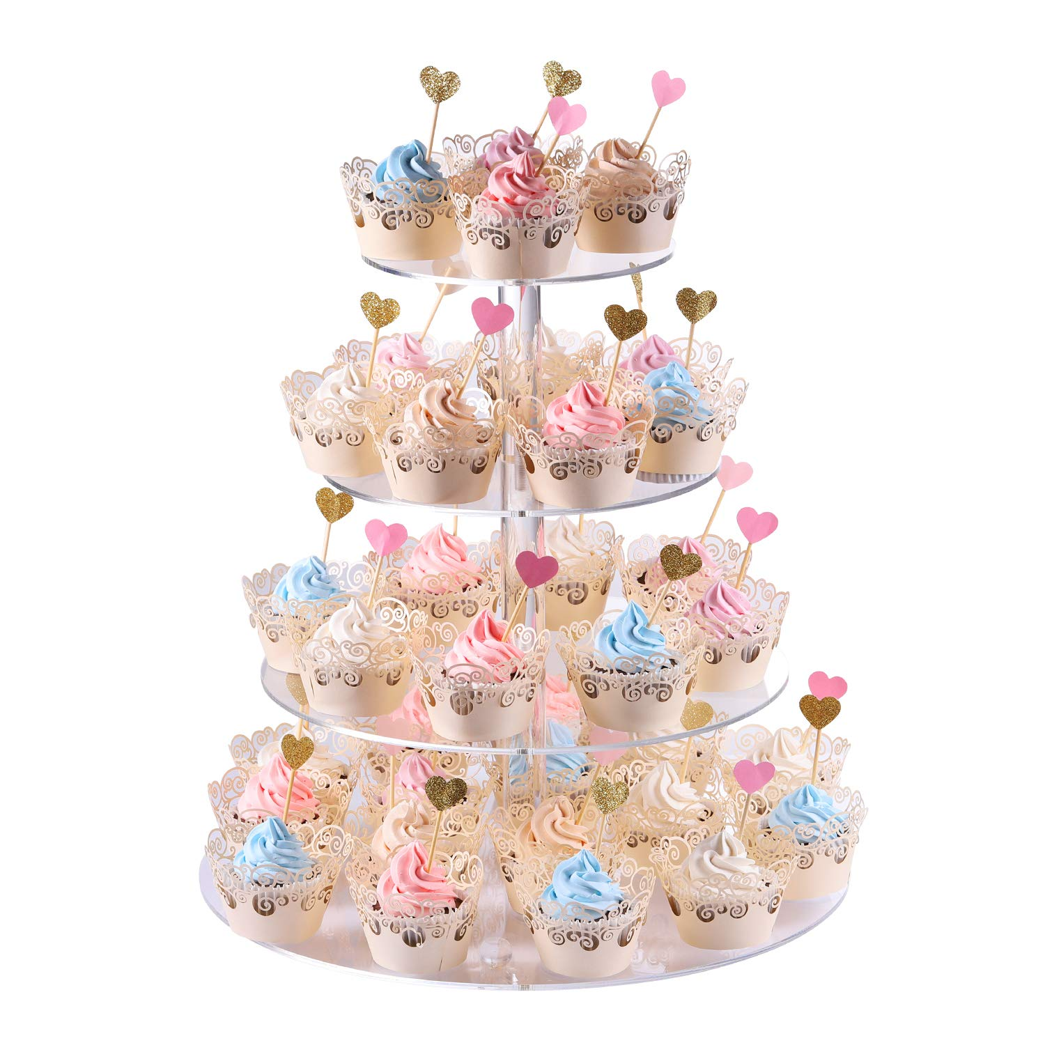 Cupcake stand, 4-Tier Round Acrylic Cupcake Display Stand Dessert Tower Pastry Stand for Wedding Birthday Theme Party- 15 Inches (Transparent)