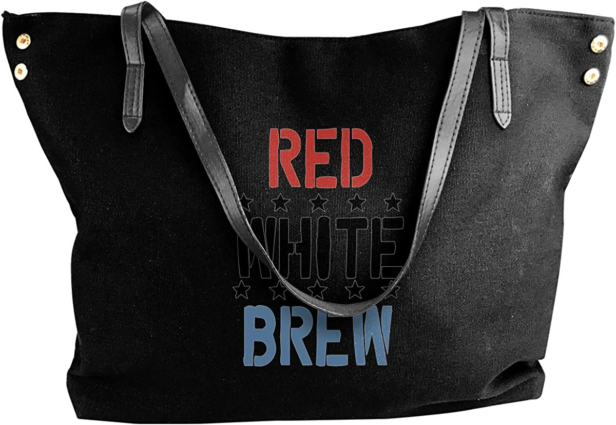 Womens Canvas Large Tote Shoulder Handbag Red White /& Brew Beer Perfect Bag
