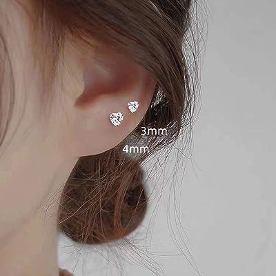 TT Silver Surgical Steel Cz Love Heart Cartilage Tragus Earrings NEW TR39S