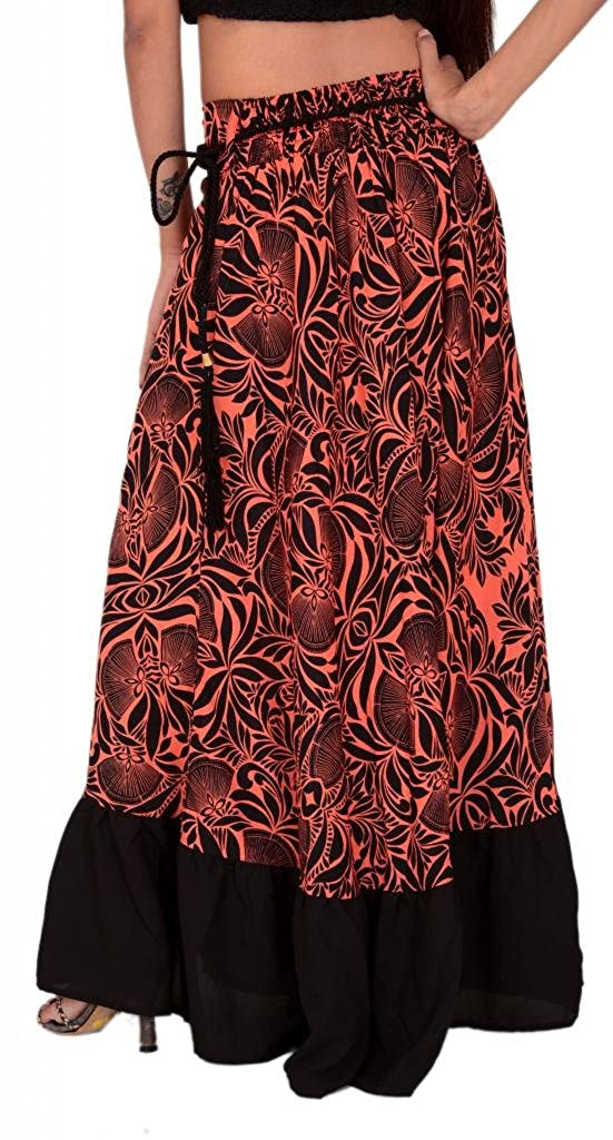 d57d8e017e0027 Skirts  N Scarves Women s Long Moss Crepe Printed Skirt (Coral   Black) at  Amazon Women s Clothing store
