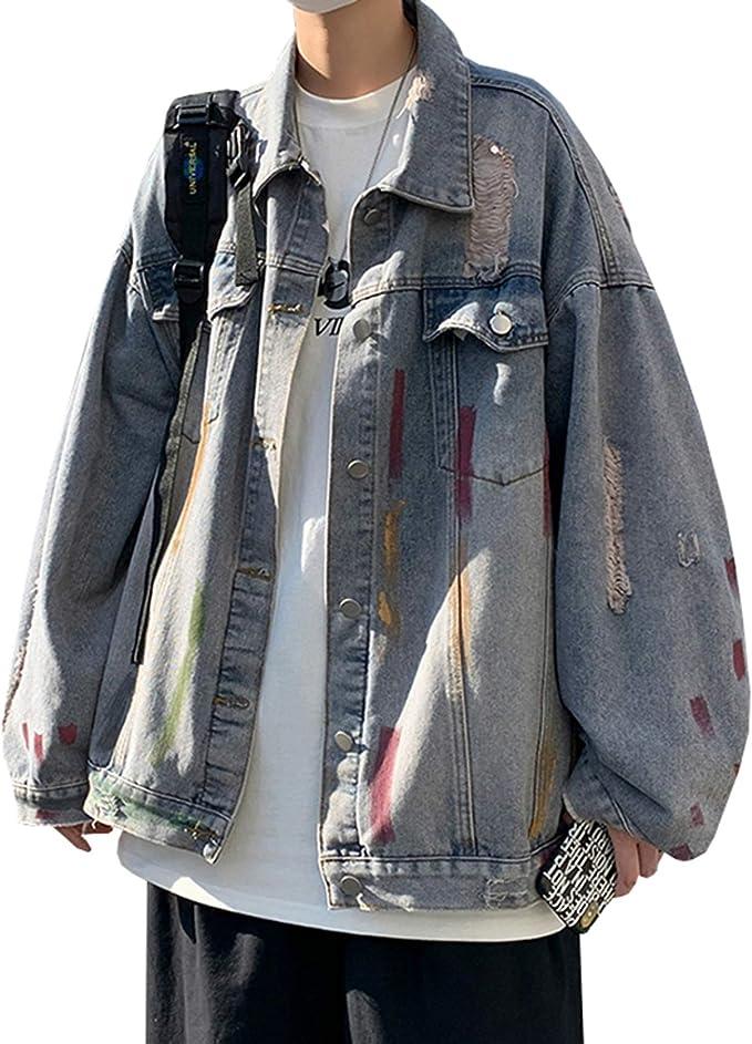 ダメージ加工 ジャケット デニム メンズ 春秋 M-2XL 大きいサイズ ストレッチ ゆったり Gジャン ジージャン ファッション カッコイイ 合わせやすい 防風 防寒 通勤 通学 お出かけ ブラック/ブルー