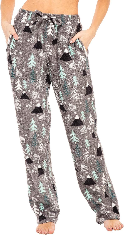 Alexander Del Rossa Womens Warm Fleece Pajama Pants Long Lounge Bottoms