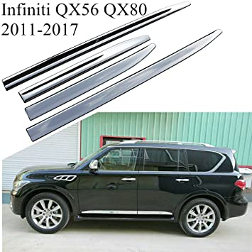 Kingcher Chrome Trim Side Molding For Infiniti Qx 2018 Covers Door Sill Protector