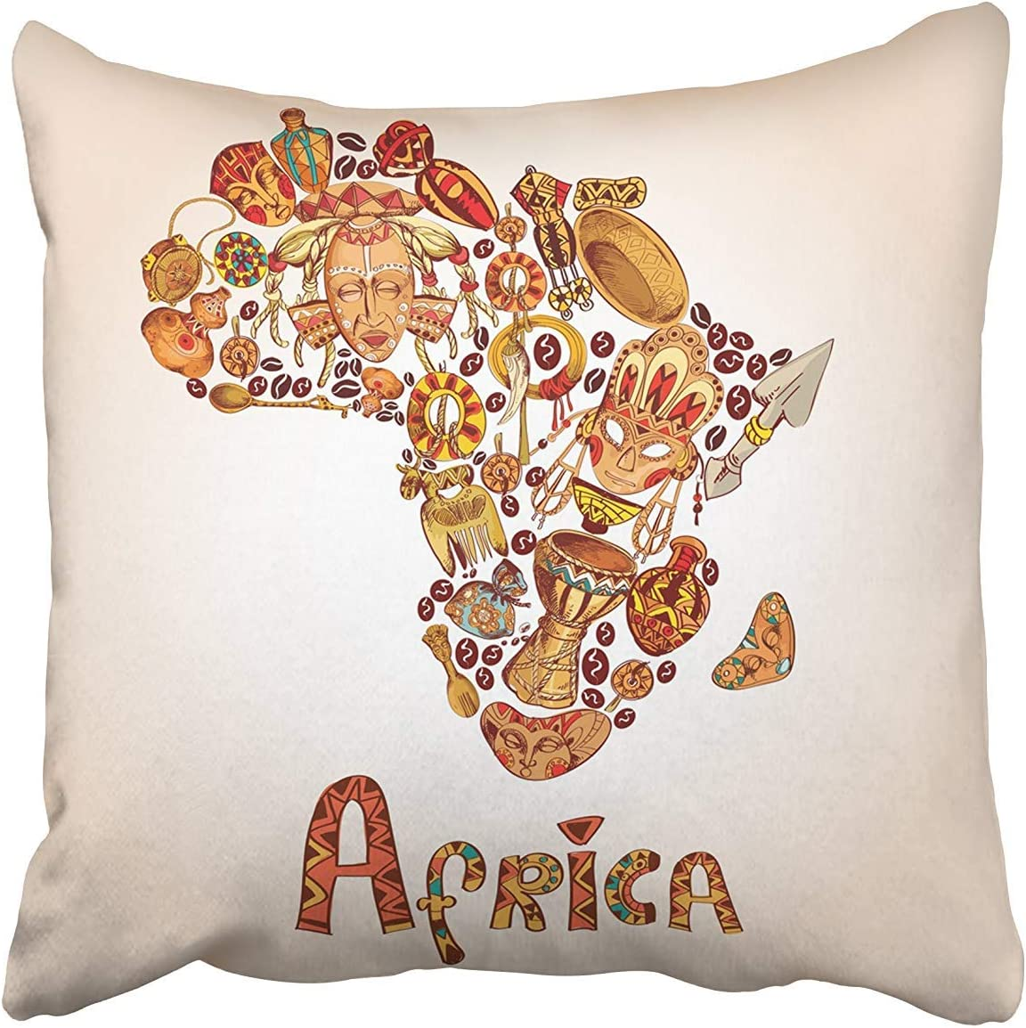 Amazon Com Joocar Face Africa Sketch In African Continent Shape Travel Concept Drum Oasis Sahara South Cotton Pillow Cover Decorative Home Decor Square Indoor Outdoor Pillowcase Size 26x26 Inch Two Sides Home Kitchen