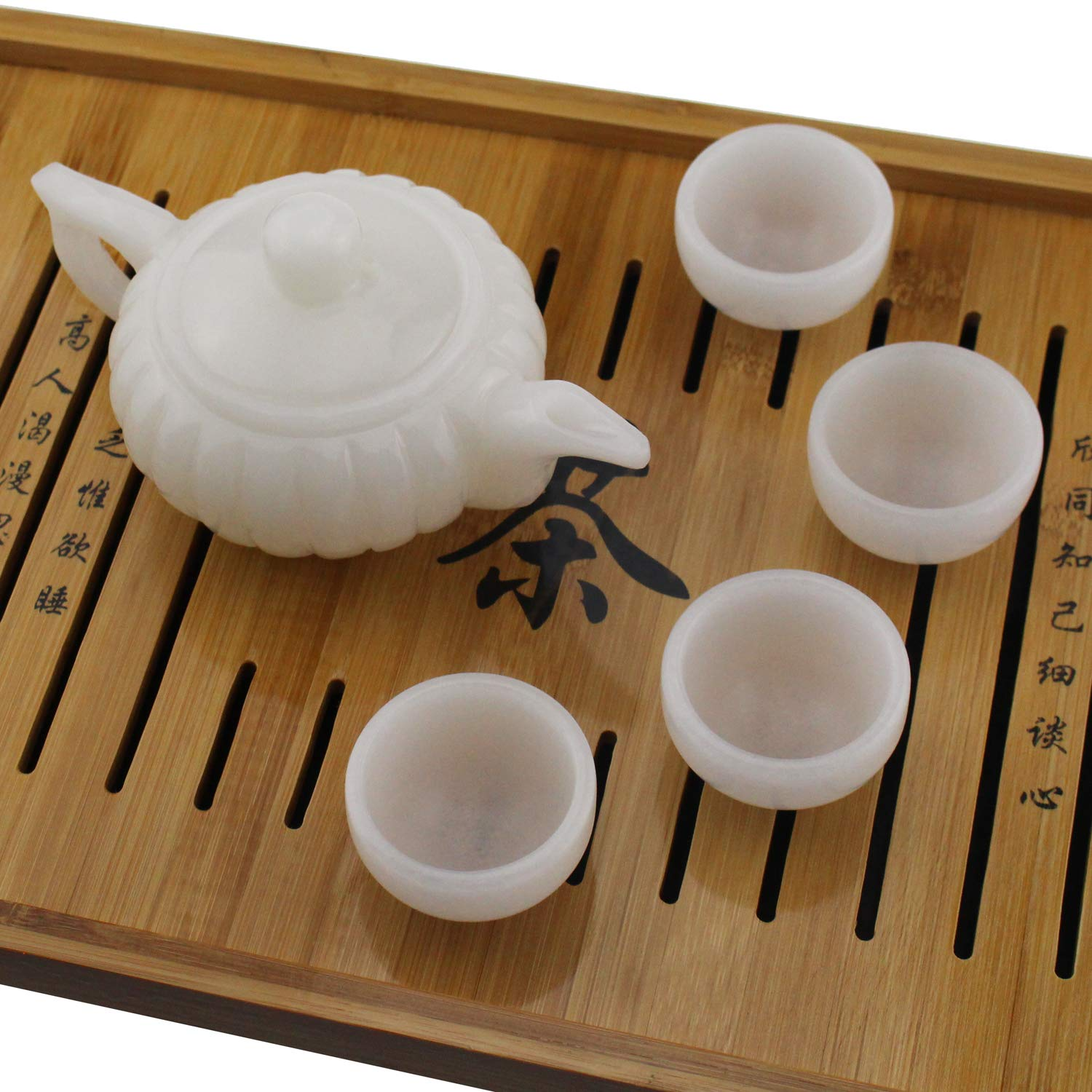 Tipmant Chinese Tea Set Nature Afghanistan White Jade Hand-carved (1 Teapot with 4 Teacups)