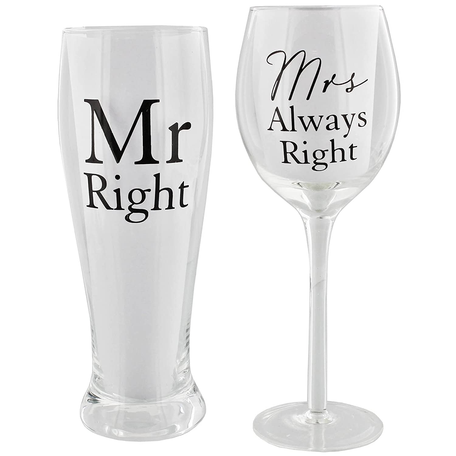 Amore Mr Right and Mrs Always Right by Amore Pint & Wine Glass Gift Set Widdop & Co UKASNHKTN7317