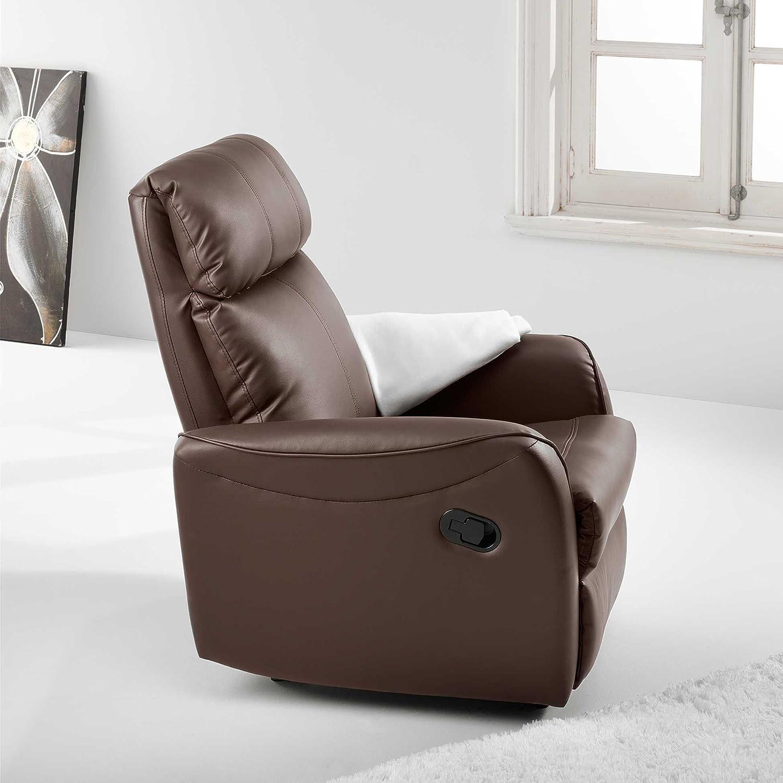 Adec - Sillon relax palanca slim, medidas 74 x 78 x 98 cm, color chocolate