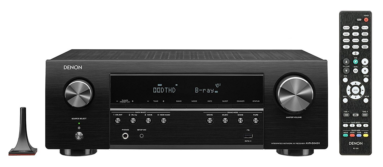 Denon AVR-S640H Audio Video Receiver, 5.2 Channel 4K Ultra HD Home Theater Surround Sound and Music Streaming System - Wi-Fi, Bluetooth, Airplay, Alexa and HEOS Wireless Speaker Expansion Built In by Denon
