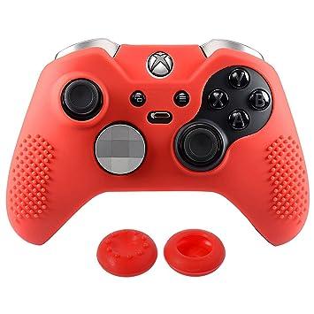 eXtremeRate Funda de Silicona para Xbox One Carcasa Suave Cubierta Protectora Antideslizante para Mando de Xbox One Elite con Dos Tapas de ...