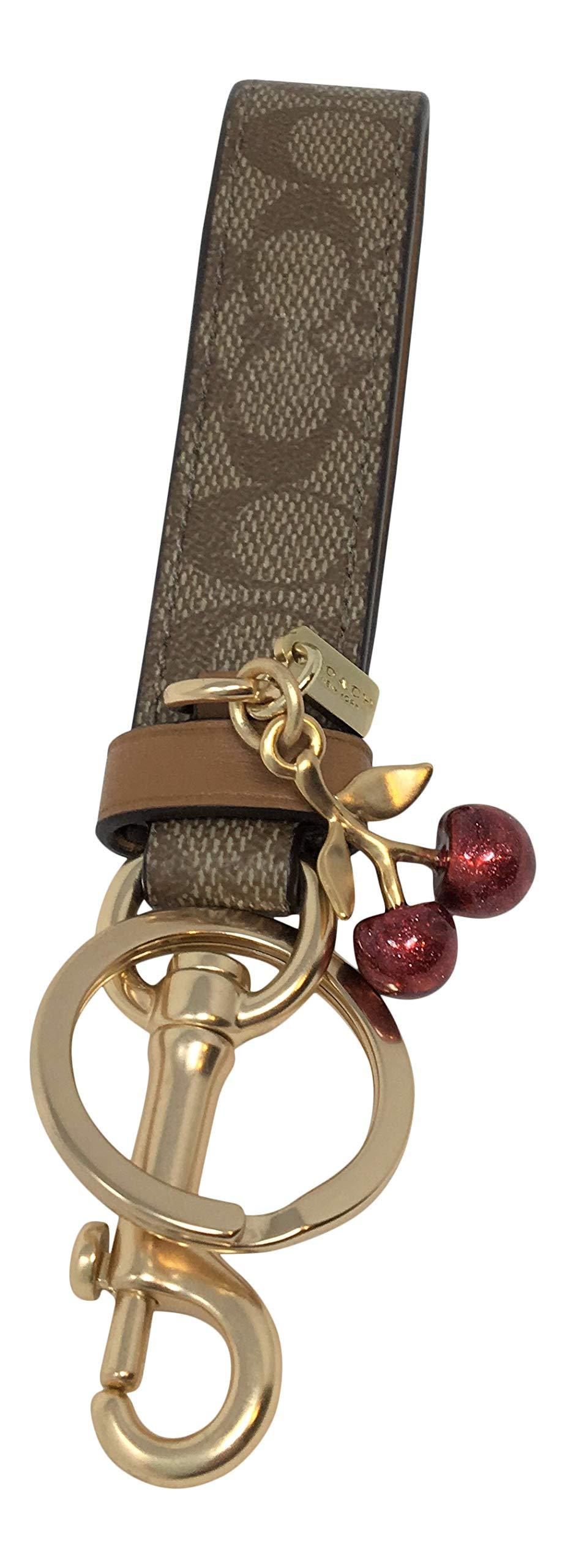 Coach Signature Khaki Loop Cherry Charm Key Ring FOB by Coach