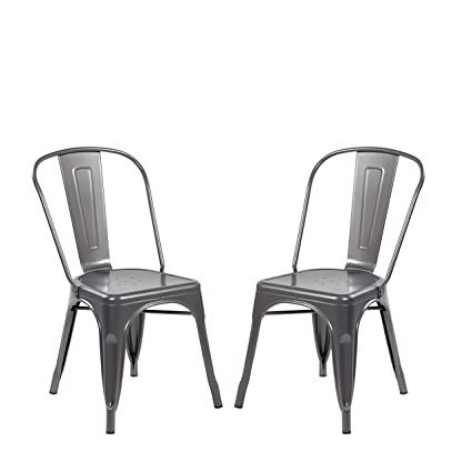 Super Modern Vintage Metal Stackable Dining Chair Backs Set Of 2 Tolix Kitchen Chair Matt Silver Machost Co Dining Chair Design Ideas Machostcouk