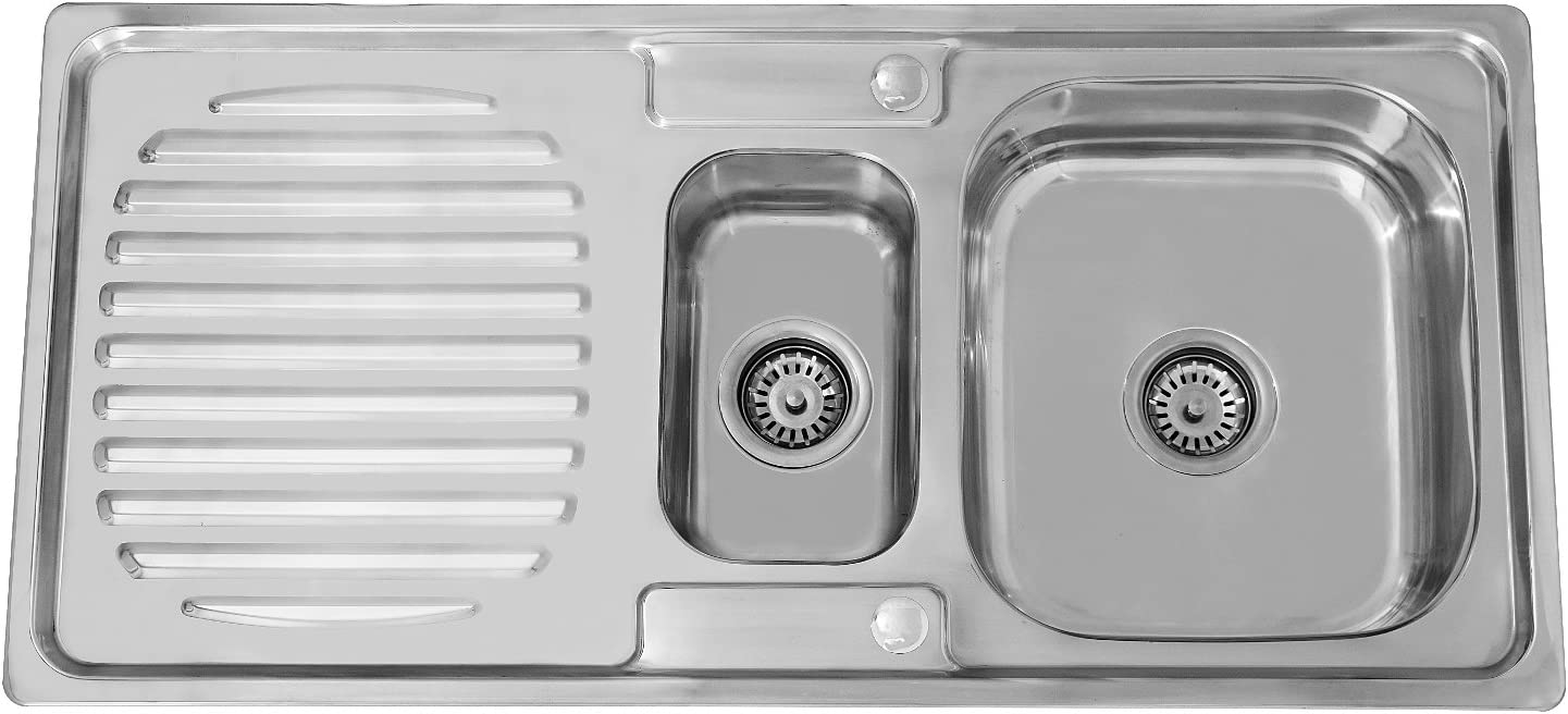 ENKI Flush-Mount Sink 1 tub and 1/2 Stainless Steel Drainer