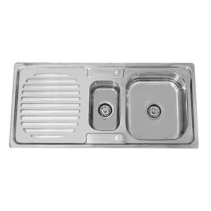 ENKI fregadero reversible pilas pequeña y grande y escurridor acero inox.