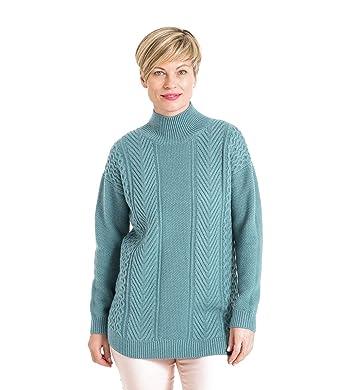 Wool Overs Pull à col cheminée Maille Fantaisie - Femme - Laine mélangée  Pale Mint, 1ce824e1702e