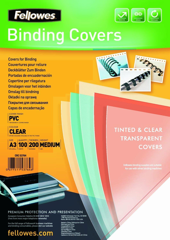 Fellowes Portadas para encuadernar de PVC transparente, formato A3, 200 micras, pack de 100: Amazon.es: Oficina y papelería