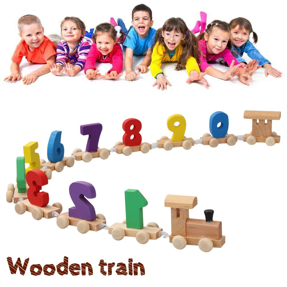 Digital Wooden Train Toys Splicing Combination Game for Kids