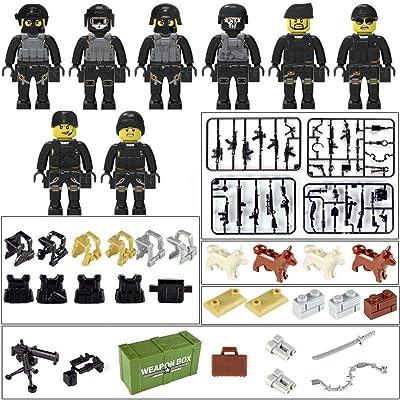 alikena 8PCS SWAT Team Policeman Doll Figura Bloques de construcción con Armas para niños Thrifty Sturdy: Hogar