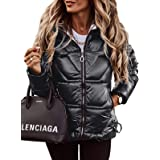 Jeanewpole1 Women's Down Hooded Thickened Jackets Water-Resistant Full-Zip Coats