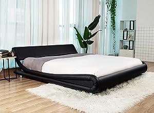 Urest Full Size Bed Frame DeluxeSolidMorden PlatformBedwithAdjustable Headboard, FauxLeatherBedFramewithWoodSlatSupport, Black