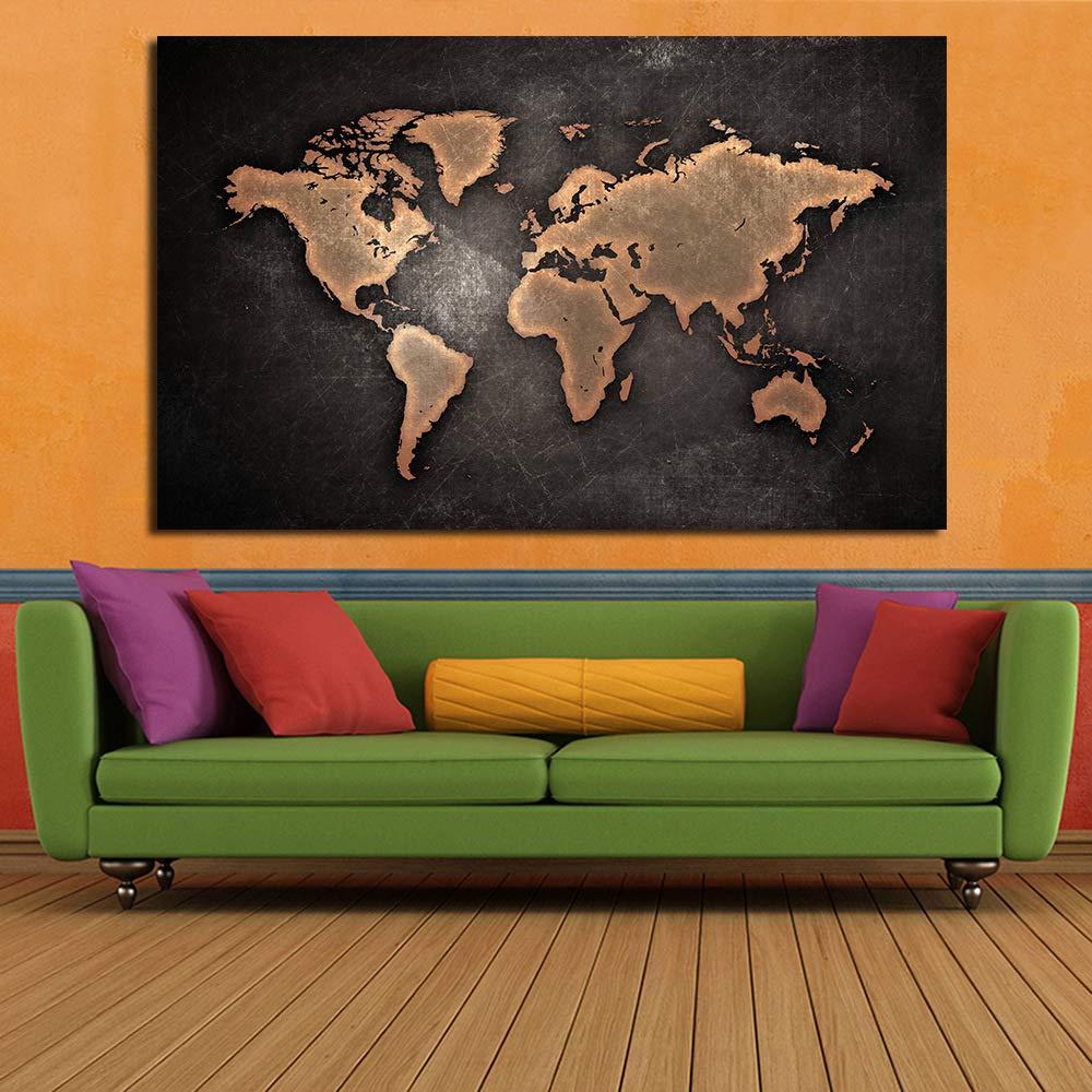jiushice Mapa Abstracto único Estilo Retro Pintura de Tinta ...